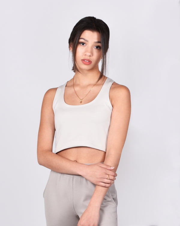 Sparrow Crop in Light Beige 2-in-1
