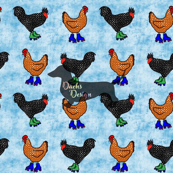 DachsDesign COLOURWAY EXCLUSIVE Rollerskating Chickens Patterns