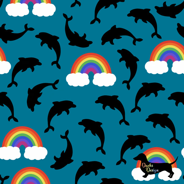 DachsDesign Dolphins and Rainbows Seamless Pattern