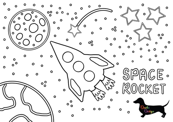 DachsDesign Space Rocket Colouring Sheet