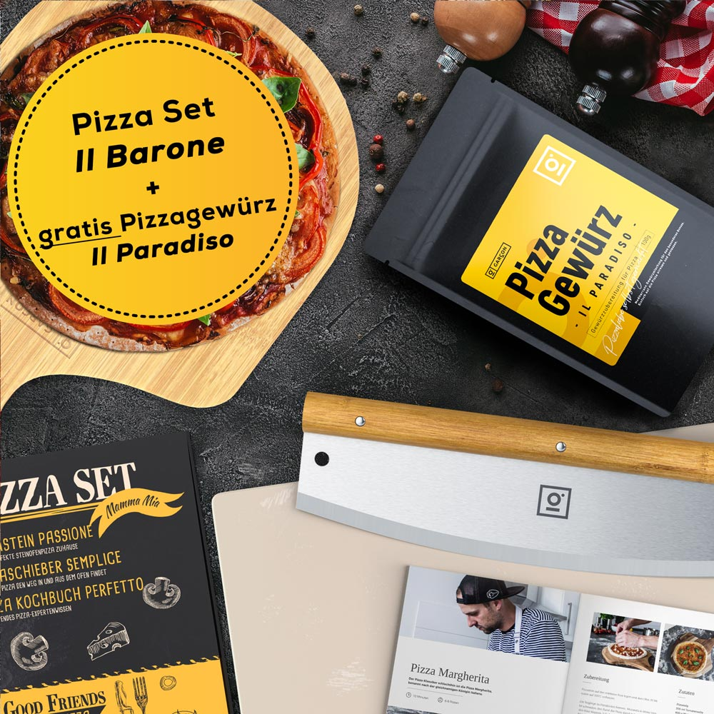 GARCON Pizzastein 4er Set + Pizzagewürz [Aktions-Bundle]