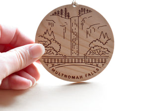 Multnomah Falls Round Christmas Ornament