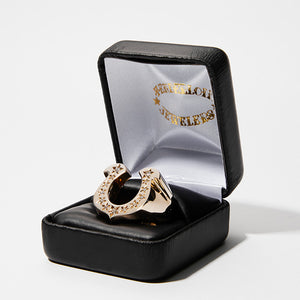 Horse Shoe Ring 8K Gold/Stone  13号