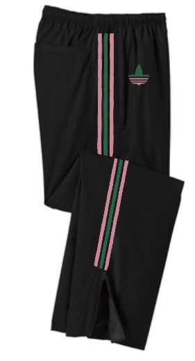"""RUN-PINK-N-GREEN"" PULLOVER WINDPANTS"