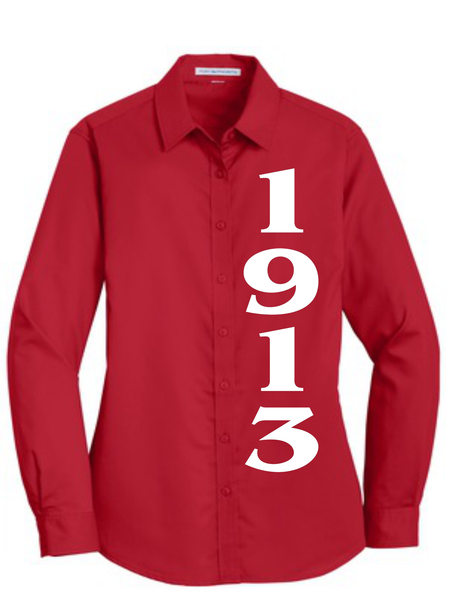 """1913"" Red Twill Button Down"
