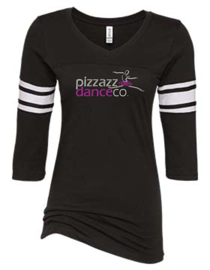"PIZZAZZ ""BLINGED"" 3/4 SLEEVE JERSEY TEE"