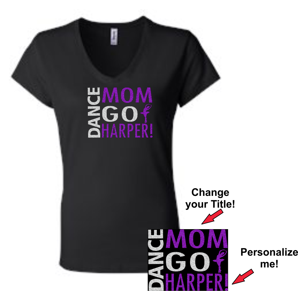 """Go Dancer"" Glitter Fan Tee!  Personalize me!"
