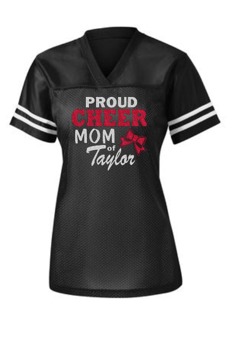 CHEER, DANCE OR POM MOM LADIES FAN JERSEY (TWO DESIGNS!)