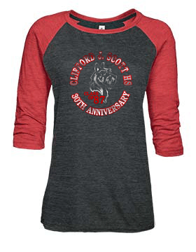 CJSHS LADIES METALLIC BASEBALL TEE 1 -AVAILABLE IN 2 COLORS