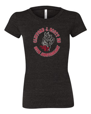 CJSHS LADIES RHINESTONE FITTED TEE- CHARCOAL
