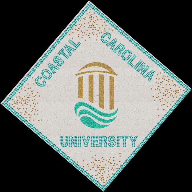 College Logo Rhinestone Graduation Cap! Coastal Carolina University