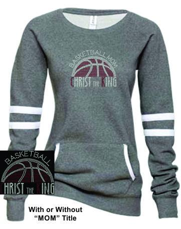 CTK LADIES VARSITY FLEECE CREW NECK RHINESTONE PULLOVER-BASKETBALL SWEATSHIRT 2