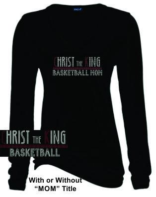 CTK LADIES LONG SLEEVE V-NECK RHINESTONE-BASKETBALL TEE 1