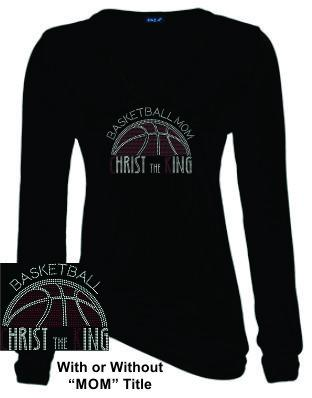 CTK LADIES LONG SLEEVE V-NECK RHINESTONE-BASKETBALL TEE 2