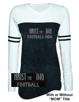 CTK LADIES TRIBLEND VARSITY LONG SLEEVE RHINESTONE-FOOTBALL TEE 1