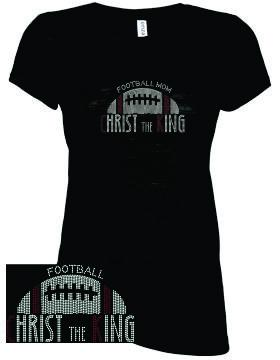 CTK LADIES CREW NECK RHINESTONE -FOOTBALL TEE 2