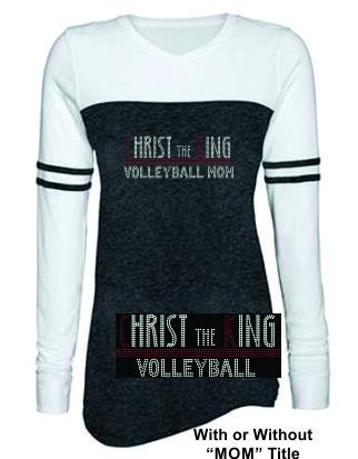 CTK LADIES TRIBLEND VARSITY LONG SLEEVE RHINESTONE-VOLLEYBALL TEE 1