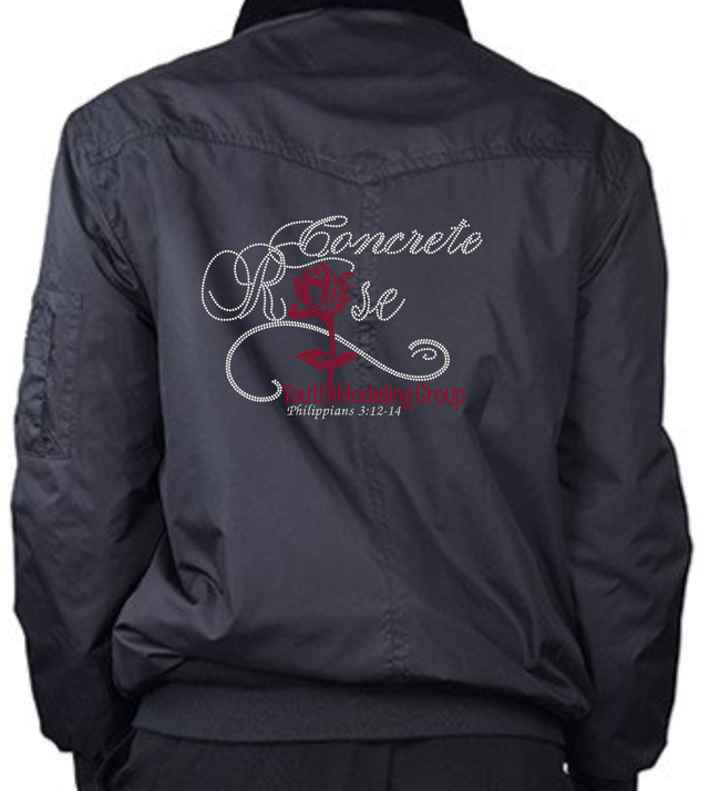 Concrete Rose Bling Bomber Jacket (Transfer Only)