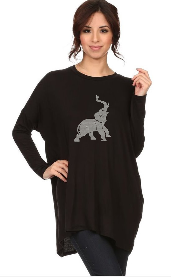 Diva Trunks Up -Long Sleeve Rhinestone Draped Tee