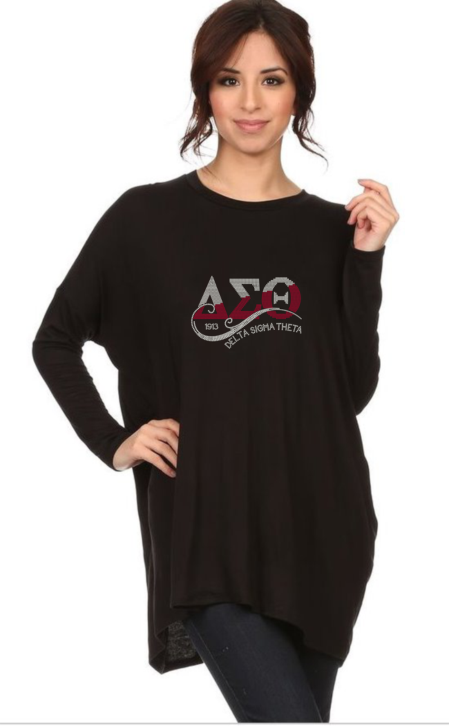 Diva DST -Long Sleeve Rhinestone Draped Tee 2