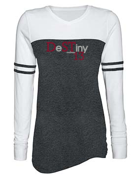 DeSTiny 13 Bling Ladies Triblend Varsity Long Sleeve Tee