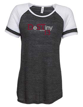 DeSTiny 13 Bling Ladies Vintage Triblend Colorblock Tee