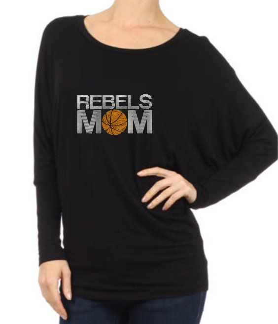 Rebels Mom Rhinestone Long Sleeve Dolman Tee
