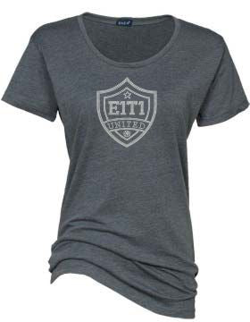 E1T1 Rhinestone Ladies Textured Triblend Crew Neck Tee