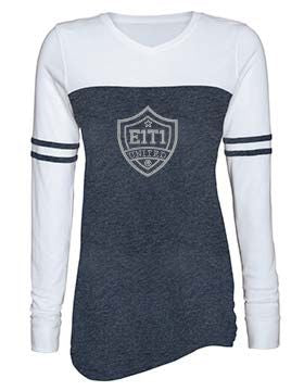 E1T1 Rhinestone Ladies Triblend Varsity Long Sleeve Tee