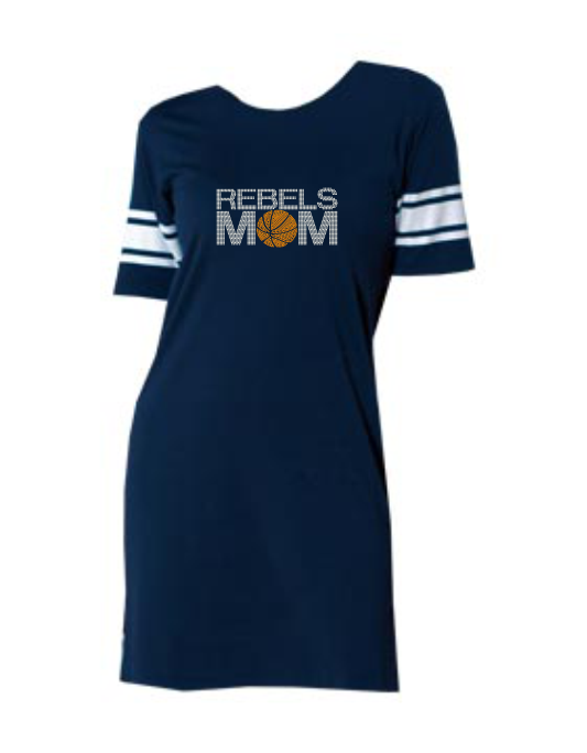 REBELS MOM BLING LADIES T-SHIRT DRESS (AVAILABLE IN 3 COLORS)