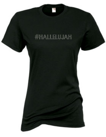 #HALLELUJAH RHINESTONE SHORT SLEEVE FITTED TEE