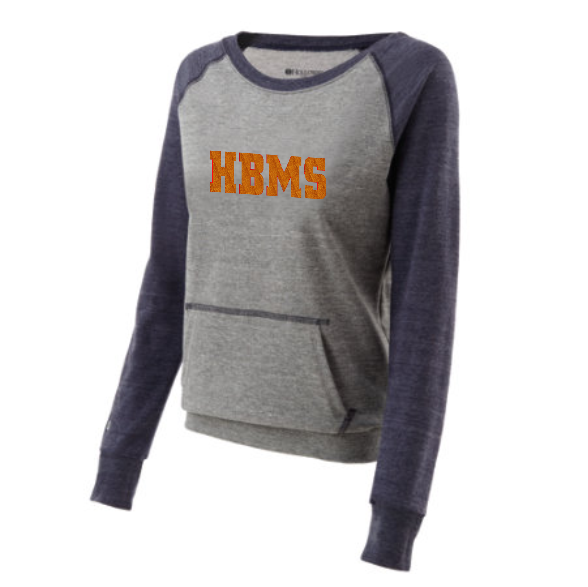 HBMS Glitter Two Tone Crew Sweatshirt- Blue