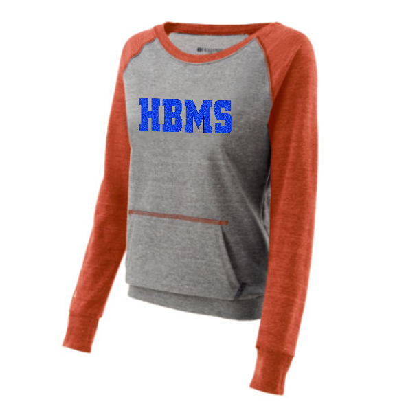 HBMS Glitter Two Tone Crew Sweatshirt- Orange
