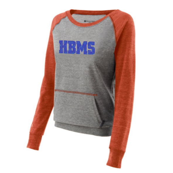 HBMS Rhinestone Two Tone Crew Sweatshirt- Orange