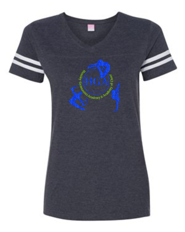 HGA LADIES VNECK JERSEY TEE (AVAILABLE IN SCREEN, RHINESTONE OR GLITTER)