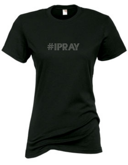#IPRAY RHINESTONE SHORT SLEEVE FITTED TEE
