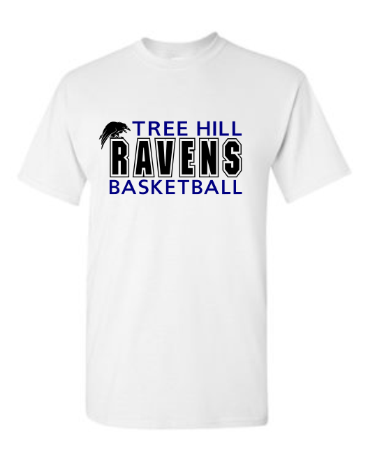 """TREE HILL RAVEN BASKETBALL"" TEE OR SWEATSHIRT (AVAILABLE IN 2 COLORS)"