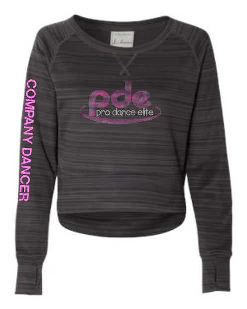 "PDE LADIES ""RHINESTONE"" CROP SWEATSHIRT (2 COLORS)"