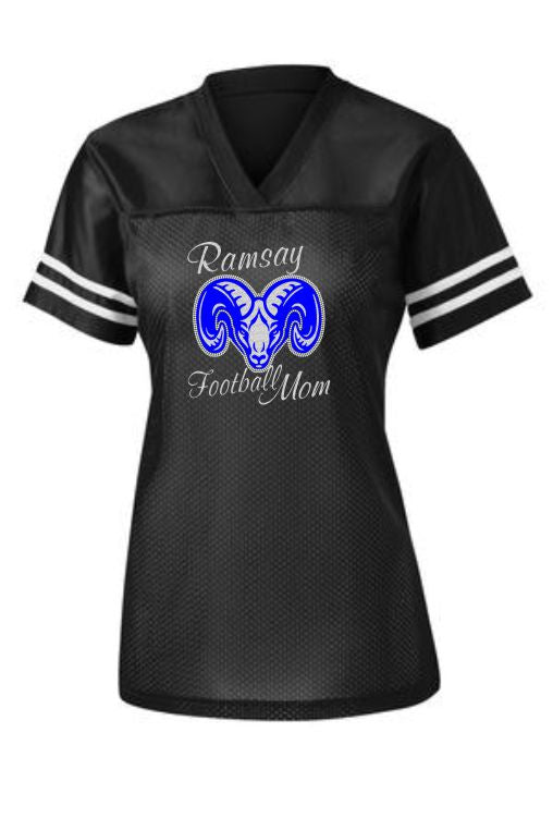 Ramsay Rams Bling Football Mom Jersey (Available in Ladies or Unisex Cut)