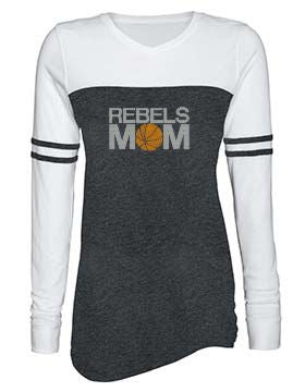 Rebels Mom Rhinestone Ladies Triblend Varsity Long Sleeve Tee