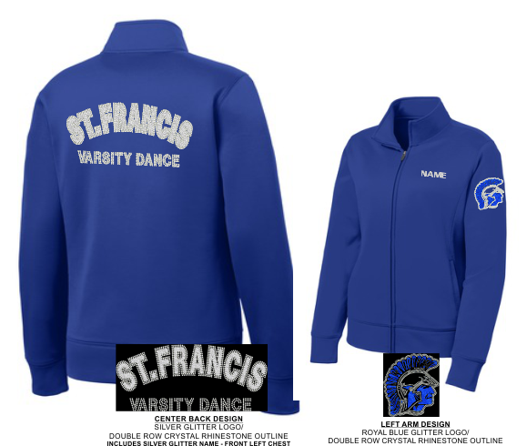 SPARTANETTES RHINESTONE/GLITTER TEAM WARM UP JACKET