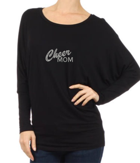 HPD RHINESTONE CHEER, DANCE  OR POM MOM-Long Sleeve Dolman Tee