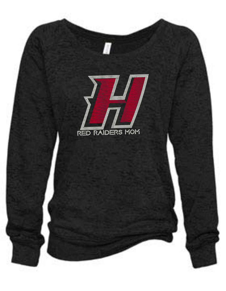 RED RAIDERS SLOUCHY BURNOUT SWEATSHIRT