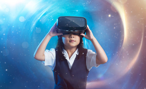 Girl Using a Virtual Reality Headset