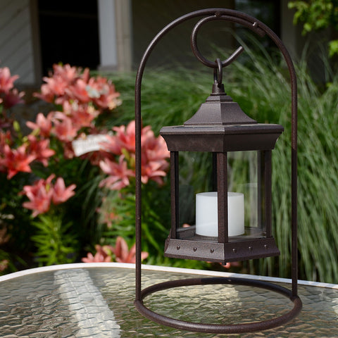 Starlite Portable LED Lantern with Clear Glass & Arch Metal Stand