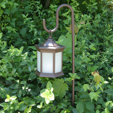 Starlite Portable LED Lantern with Frosted Glass & Shepherds Hook Stand