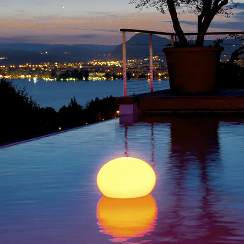 Smart and Green Cordless Portable LED Flatball Lamp - yellow in pool