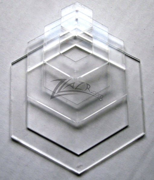 hexagon quilt template plastic template nested 4 x 1 8 hexagon acrylic plastic stencil
