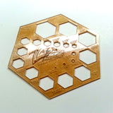 "Template 3""x1/32"" Hexagon SUPER THIN Acrylic Hole Guide Plastic Stencil Quilting Clear USA"