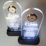 "Awards Stand Acrylic 3"" x ""7"" with LED Stand & Clock"